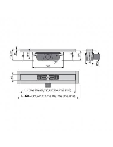 Решетка Alcaplast LINE-950L глянцевая