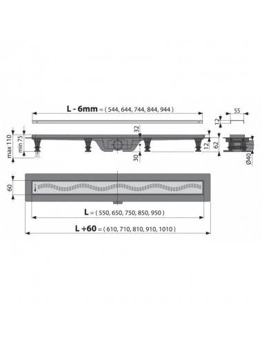 Решетка Alcaplast MI1206-750 песочная