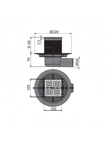 Решетка Alcaplast MI1207-950 камень гранит