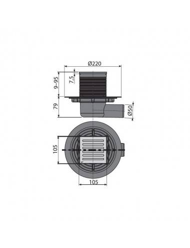 Решетка Alcaplast MI1206-650 песочная