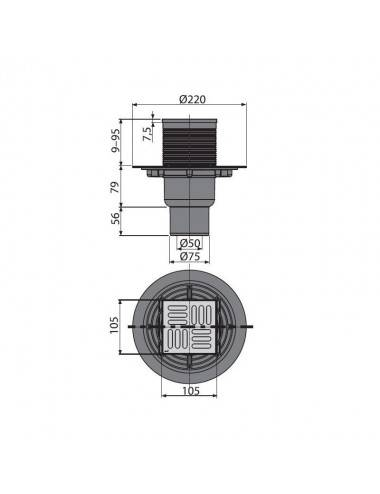 Решетка Alcaplast MP1206-650 камень песочный/нерж. сталь матовая