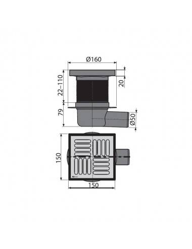 Решетка Alcaplast POSH-550MN матовая