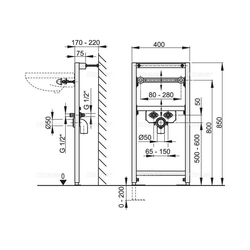 Решетка Alcaplast ROUTE-750L глянцевая