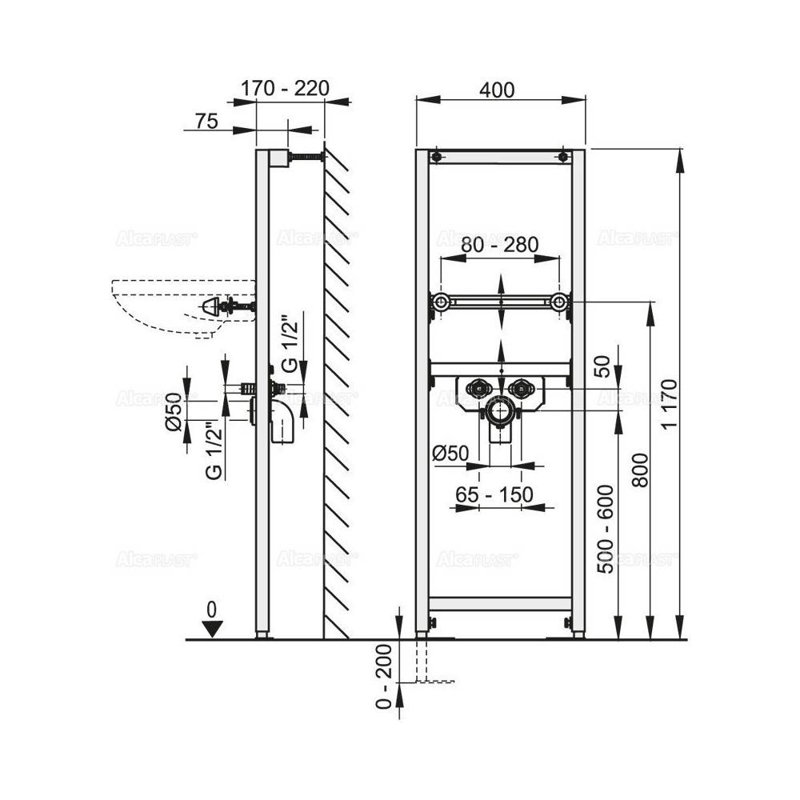 Решетка Alcaplast PURE-950L глянцевая
