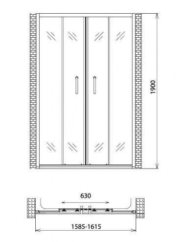 OMNIRES MAYFAIR левая шторка для ванны двухстворчатая 115 cм QP95B-LLUXCRTR, хром/прозрачный