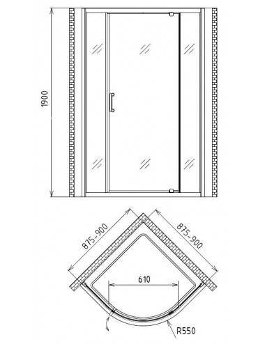 BERGES WASSERHAUS NEWS 063003 80 стекло прозрачное/хром душевая дверь