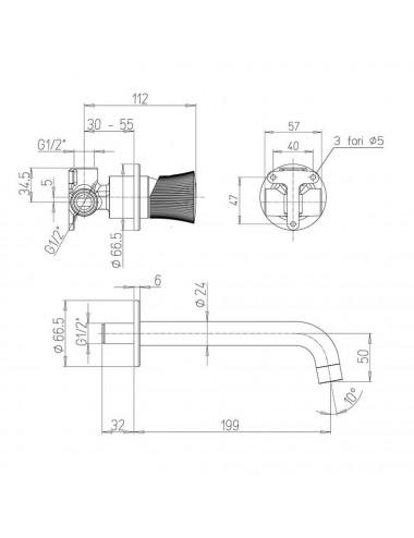 BERGES WASSERHAUS DARK 061020L 90x90 стекло прозрачное/черный душевой уголок