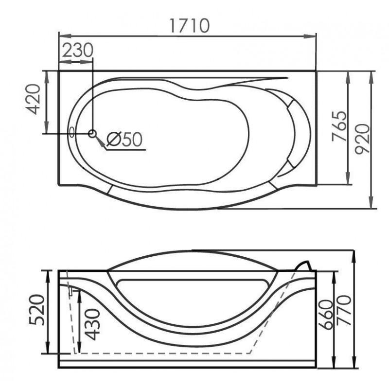 VAYER MILANA 165x70 ванна акриловая