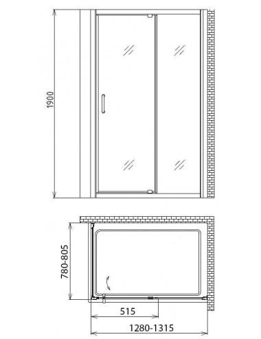 OMNIRES MARINA душевая кабина типа walk-in 100 cм, черный матовый / прозрачный, арт. DNR10XBLTR