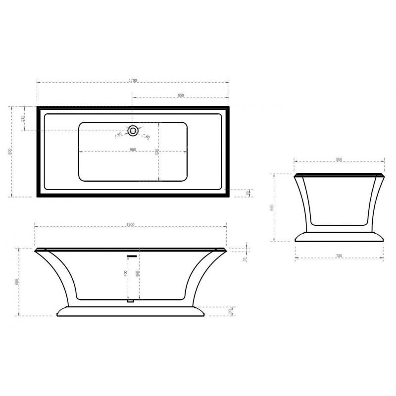 ABBER AB9279 акриловая ванна 150x150