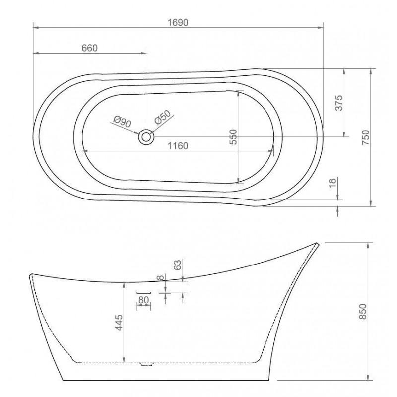 ABBER AB9280 акриловая ванна 150x150