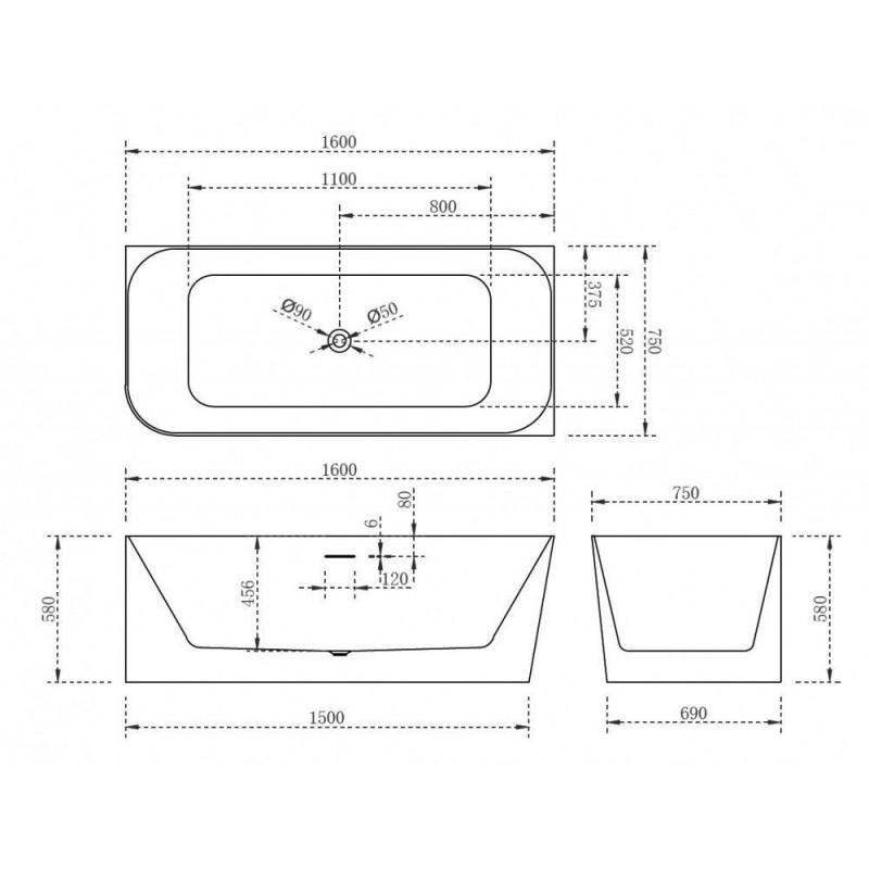 ALPEN RUMINA 135 x 135 х 46 (270л) акриловая ванна