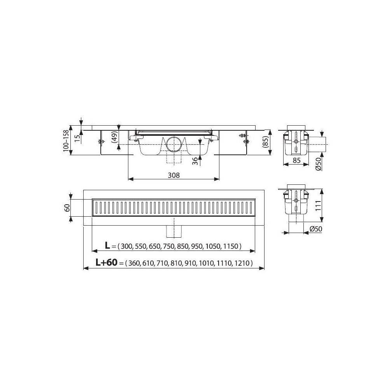 Душевой лоток Alcaplast Spa APZ5-SHADE-750