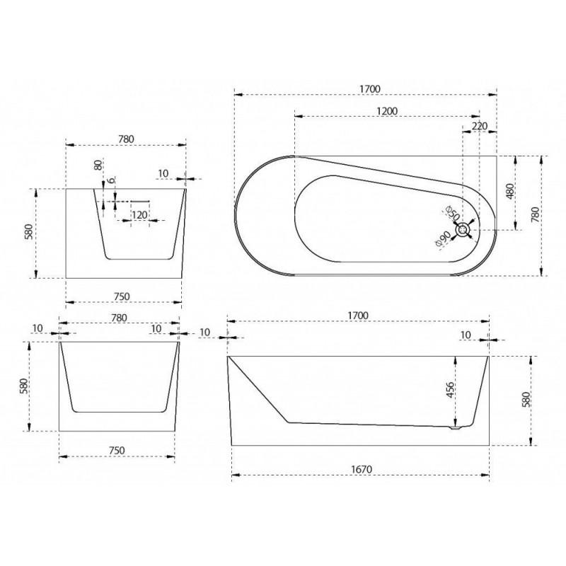 Душевой лоток Alcaplast Wall Low APZ116-750