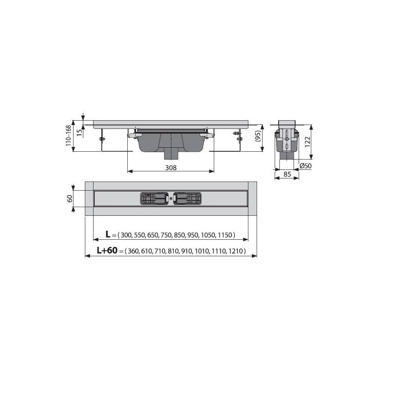 Душевой лоток Alcaplast Wall Low APZ1116-850