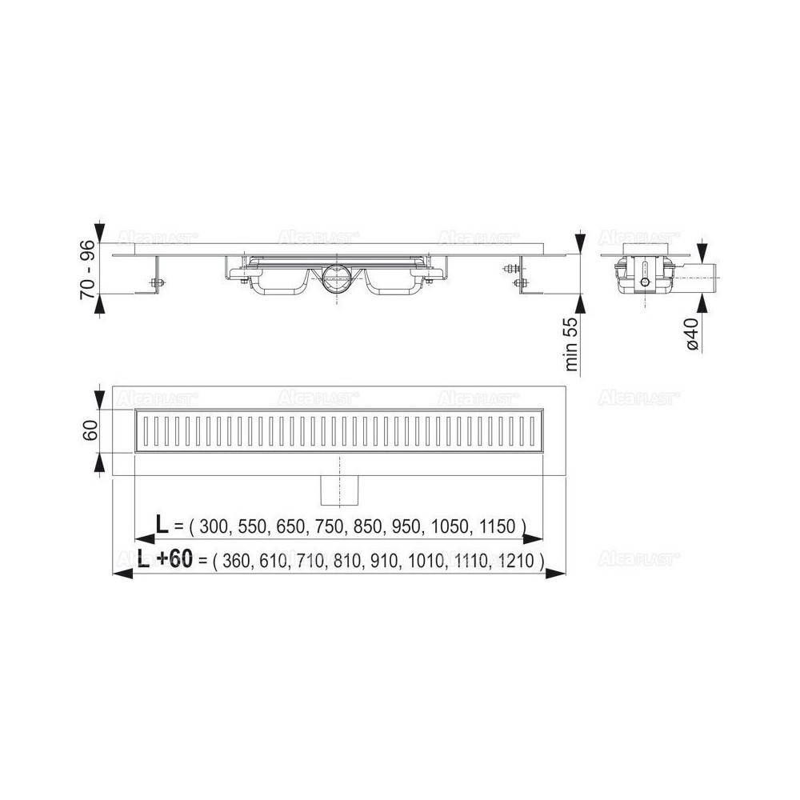 Душевой лоток Alcaplast Wall Low APZ116-1150