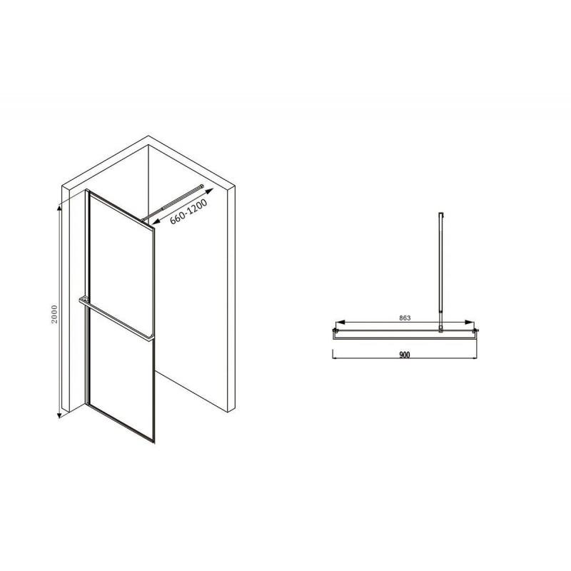 Решетка Alcaplast BUBLE-950L глянцевая