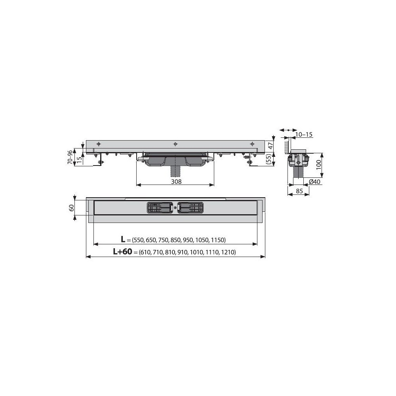 Решетка Alcaplast CUBE-650L глянцевая