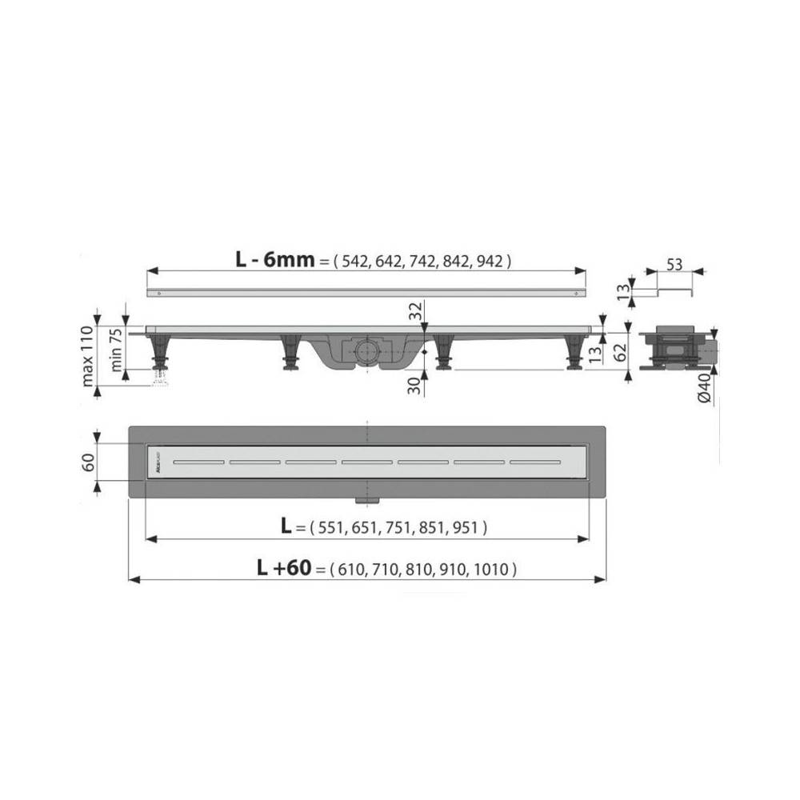 Решетка Alcaplast GL1200-850 белое стекло