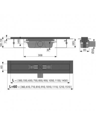 Решетка Alcaplast GL1202-650 зеленое стекло