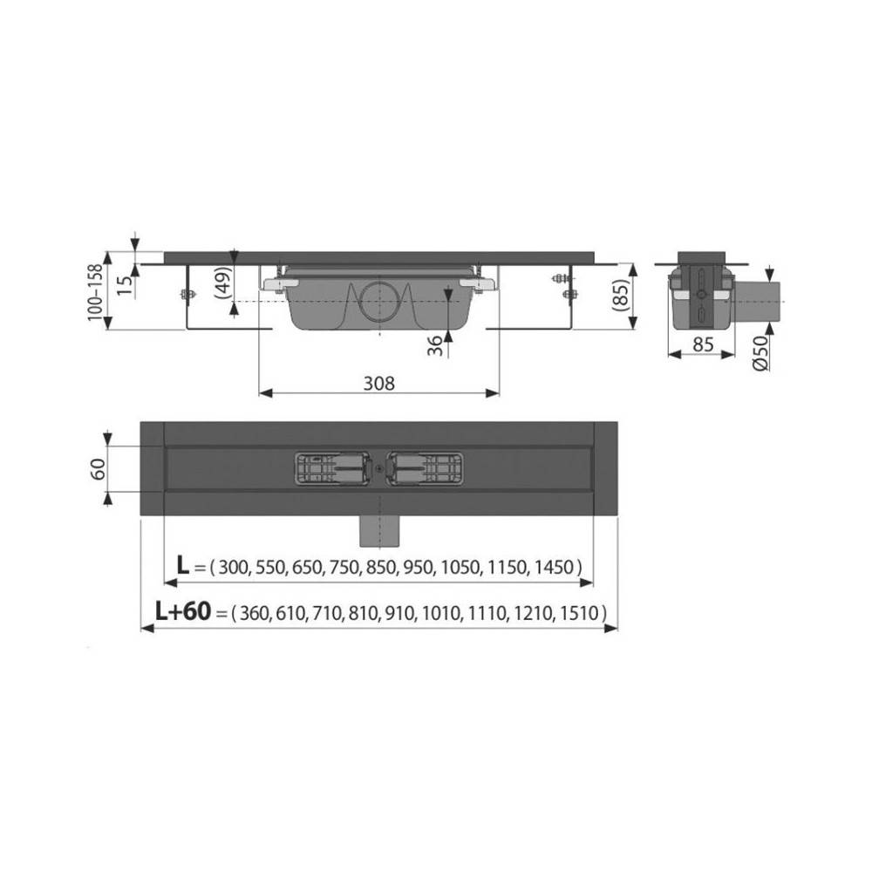 Решетка Alcaplast GL1204-750 черное стекло