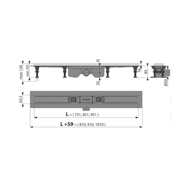Решетка Alcaplast HOPE-1150L глянцевая