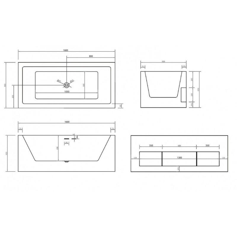 ALPEN TERRA 170 x 110 х 45 (260л) L акриловая ванна